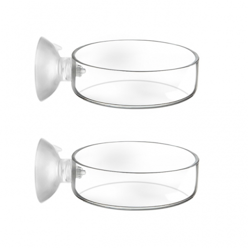 2pcs Glass Shrimp Feeder Dish with Suction Cup