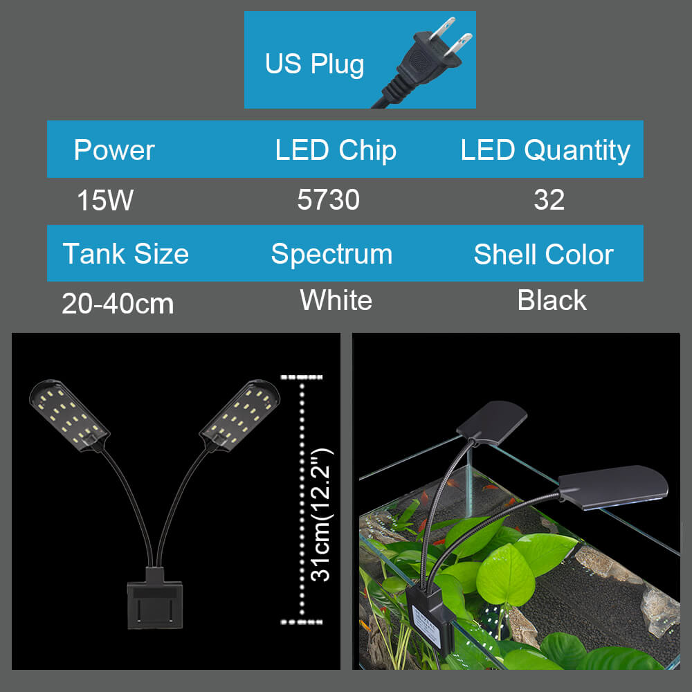 X7 Aquarium LED Light for Tropical Plant Tank 15W 1600LM