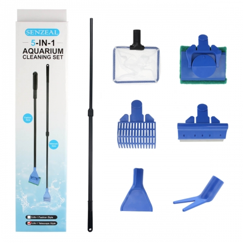 5-in-1 Aquarium Cleaning Kit: Extension Type