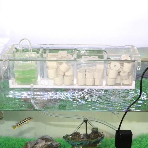 1-6 Grids Acrylic Aquarium External Filter Box